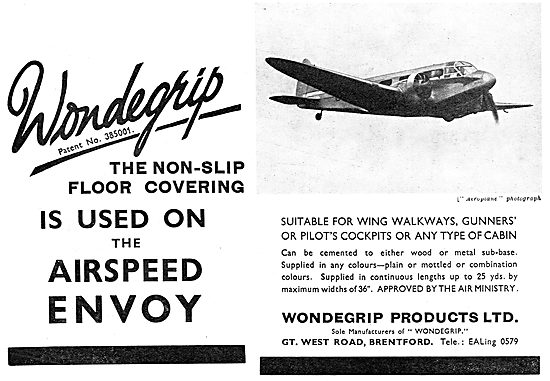 Wondegrip Non-Slip Floor Coverings. Airspeed Envoy