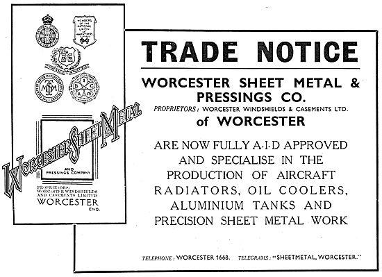 Worcester Sheet Metal & Pressings Co. Aircraft Sheet Metal Work