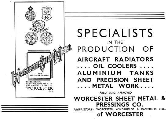 Worcester Sheet Metal & Pressings Co. Aircraft Sheet Metal Work