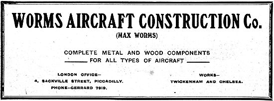 Worms Aircraft Construction Co - Metal & Wood Aircraft Components