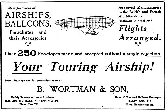 Wortman Airships,Parachutes & Balloons. 1919 Advert
