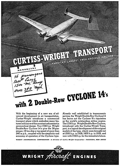 Wright Double-Row Cyclone 14  Curtiss-Wright Commercial Transport