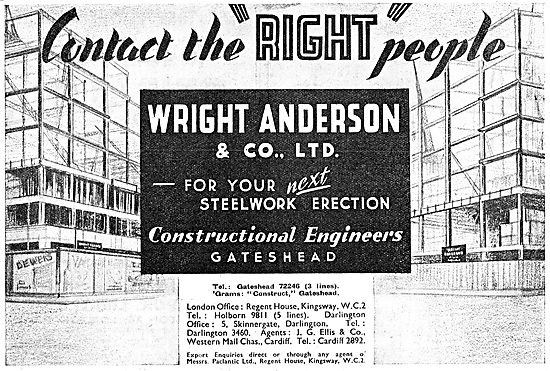 Wright Anderson  Aircraft Hangars & Structural Steelwork 1943 Ad