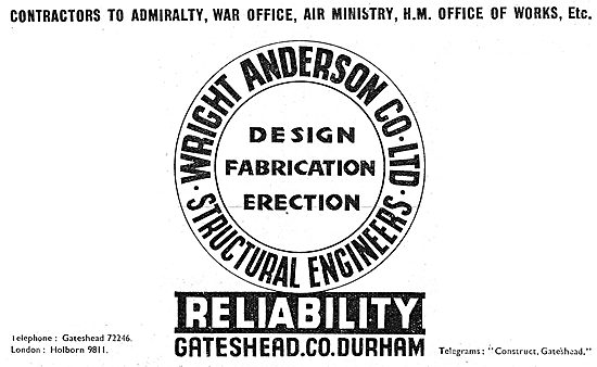 Wright Anderson Structural Engineers 1943 Advert
