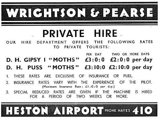 Wrightson & Pearse. Heston Airport. Private Hire Rates