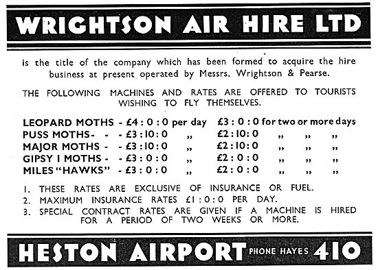 Wrightson Air Hire Heston Airport. Private Hire Rates