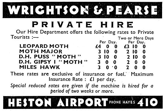 Wrightson & Pearse. Heston Airport. Private Hire Rates