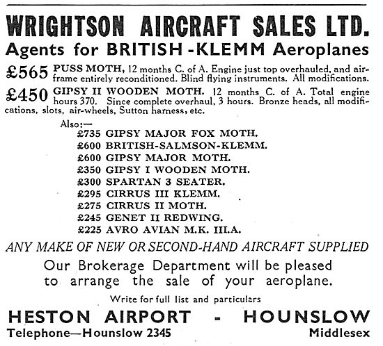 Wrightson & Pearse. Heston Airport. Agenst For British Klemm
