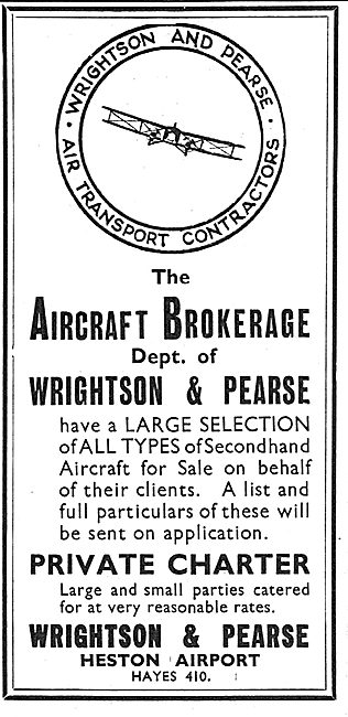 Wrightson & Pearse. Heston Airport. Aircraft Brokerage