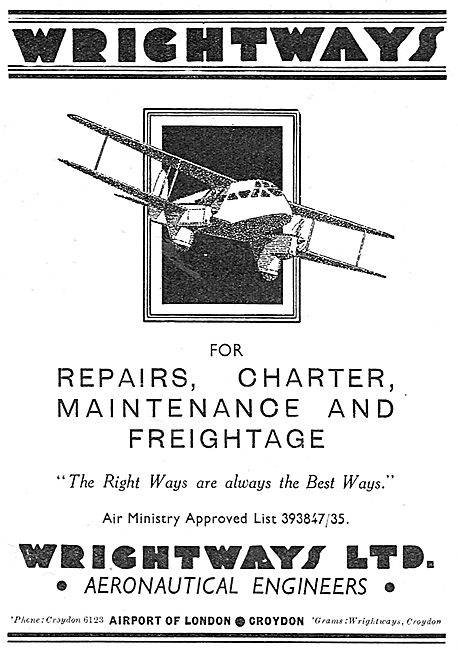Wrightways Of Croydon - Aircraft Repairs, Charter & Freightage