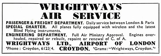 Wrightways Of Croydon : Charter Flights & Engineering Services