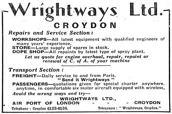 Wrightways Of Croydon - Aeronautical Engineers - Air Charter