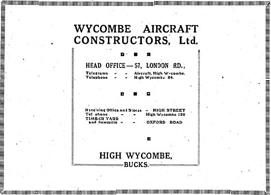 Wycombe Aircraft Constructors Ltd - High St,  High Wycombe