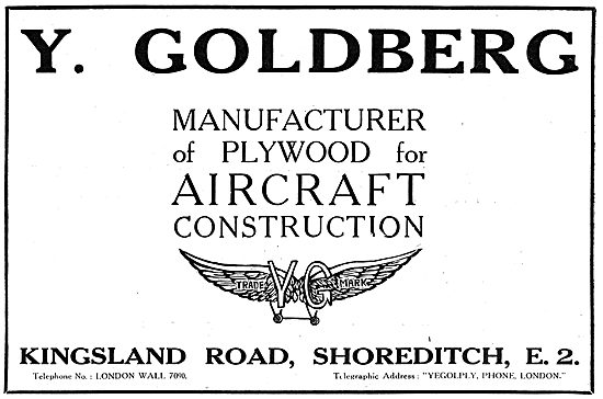 Y.Goldberg. Manufacturer Of Plywood For Aircraft. Shoreditch 1918
