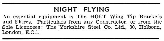 Yorkshire Steel Co - Holt Wing Tip Flares For Night Flying 1931