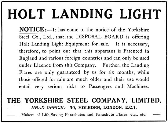 The Yorkshire Steel:  Holt Aircraft Landing Lights - Wing Flares