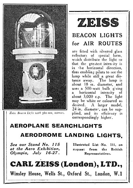 Zeiss Beacon Lights For Air Routes 1929