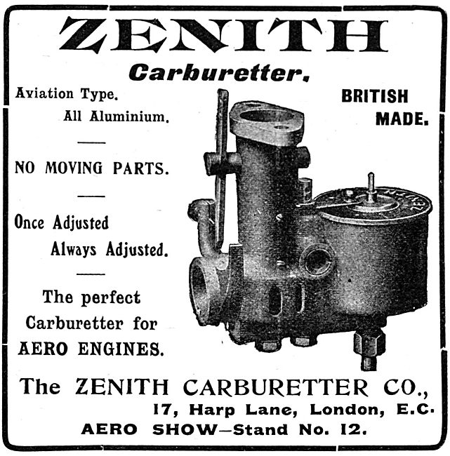 Zenith Aero Engine Carburetters