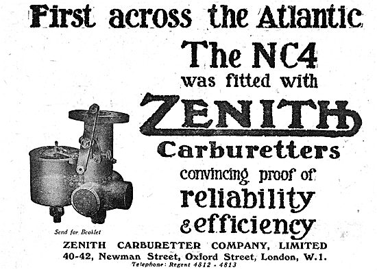 Zenith Aero Engine Carburetters Fitted To The Trans Atlantic NC4