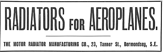 The Motor Radiator Manufacturing Co - Radiators For Aeroplanes