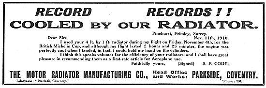 Cody's Record Breaking Michelin Flight Used A Zimmermann Radiator
