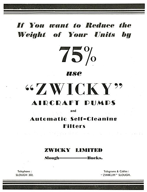 Zwicky Aircraft Pumps & Filters