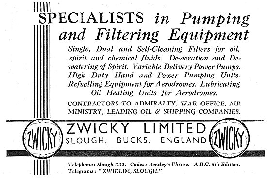 Zwicky Aircraft Pumping And Filtering Equipment