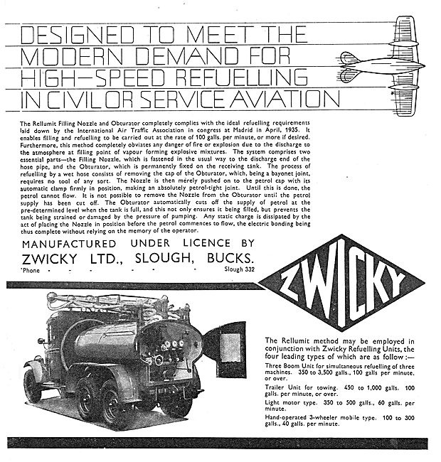 Zwicky Mobile Aircraft Refuelling Units: Civil & Military Units