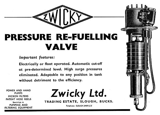 Zwicky Pressure Re-Fuelling Valve