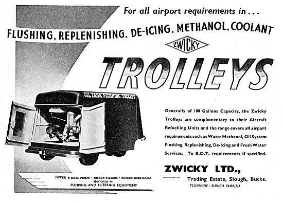 Zwicky Fluids Replenishment Trolleys. De-Icing, Methanol, Coolant